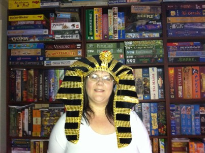 Melissa wearing an Egyptian headdress