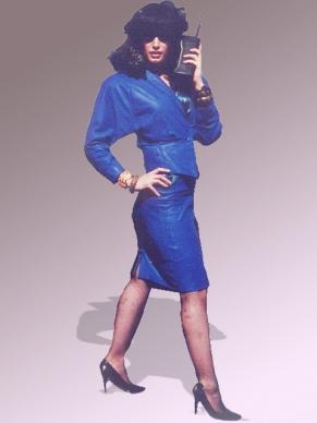 Blue 1980s power suit